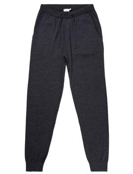Men's Merino Wool Knitted Lounge Pants In Charcoal Melange by Sunspel