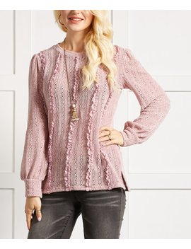 Dusty Rose Open Stitch Ruffle Sweater Tunic   Women &Amp; Plus by Suzanne Betro