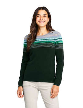 Women's Tall Cashmere Crewneck Sweater   Fair Isle by Lands' End