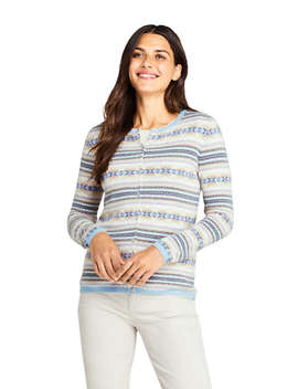 Women's Cashmere Cardigan Sweater   Fair Isle by Lands' End