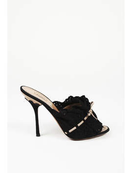 Ruffled Lasercut Suede Slide Sandals by Alaia