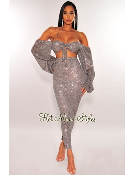 Silver Sequins Off Shoulder Long Sleeves Skirt Two Piece Set by Hot Miami Style