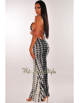 White Black Tie Dye Criss Cross Halter Open Back Maxi Dress by Hot Miami Style