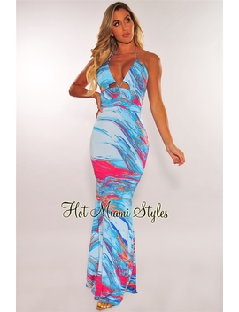 Aqua Waves Print Lace Up Halter Maxi Dress by Hot Miami Style