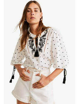 Embroidered Cord Blouse by Mango