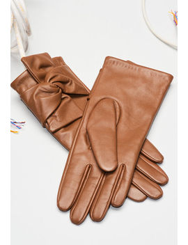 Leather Gloves With Knot Detail by Claudie Pierlot