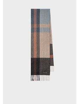 Men's Grey And Orange Check Cashmere Scarf by Paul Smith