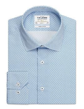Gyroscopic Print Slim Fit Blue Single Cuff Shirt by T.M.Lewin