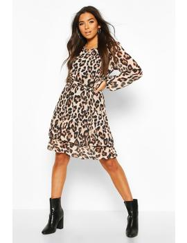 Leopard Print Belted Ruffle Skater Dress by Boohoo