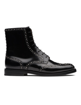 Polished Binder Lace Up Boot Stud Black by Church's Footwear