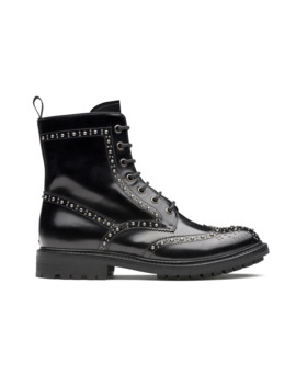 Polished Fumè Lace Up Boot  Stud Black by Church's Footwear