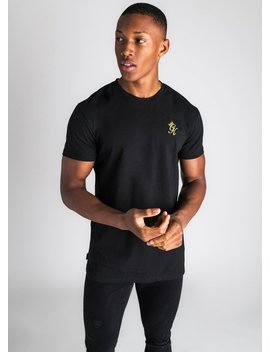 Gk Origin Fitted T Shirt   Black/Gold by The Gym King