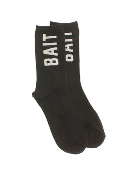 Bait Logo Lightweight Crew Socks (Black) 1 S by Bait