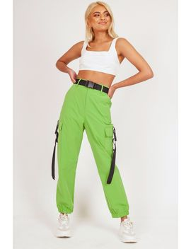 Green Buckle Strap Cargo Trousers by Katch Me