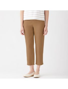 French Linen Easy Tapered Cropped Trousers by Muji