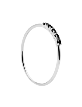 Black Misty Silver Ring by P D Paola