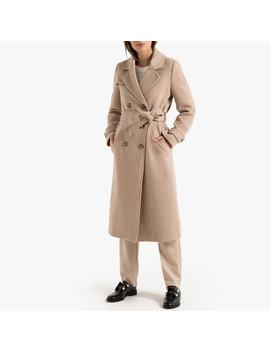Long Double Breasted Coat In Wool Mix With Pockets And Belt by La Redoute Collections