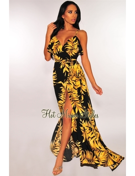 Black Palm Print Ruffle Wrap Belted Maxi Dress by Hot Miami Style