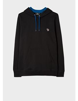 Men's Black 'zebra' Logo Organic Cotton Hoodie by Paul Smith