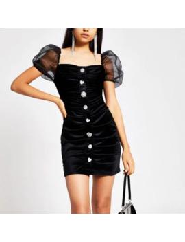 Black Velvet Puff Sleeve Mini Dress by River Island