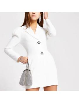 Petite White Diamante Button Tux Dress by River Island
