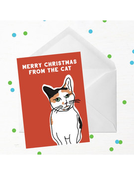 Merry Christmas From The Cat Greetings Card by Iwoot