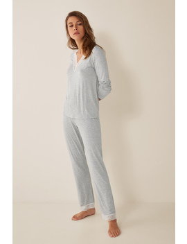 Long Dotted Pyjamas With Lace by Women'secret