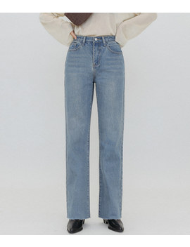 Quietlab Frayed Hem Straight Cut Jean by Mixxmix