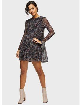 Black Ditsy Mesh Smock Dress by Miss Selfridge