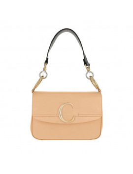 Double Carry Small Shoulder Bag Leather Bleached Brown by Chloé