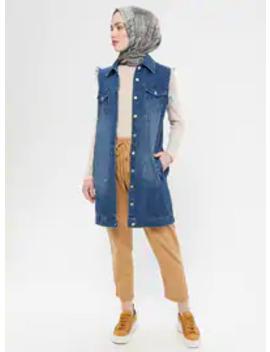Blue   Navy Blue   Unlined   Point Collar   Cotton   Denim   Vest by Modanisa