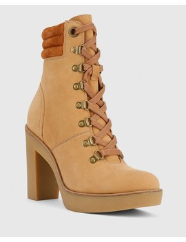 Vickie Caramel Leather Block Heel Lace Up Ankle Boot by Wittner