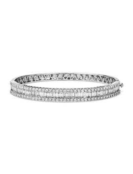 Round And Baguette Diamond Bangle In 14k White Gold (4 1/2 Ct. Tw.) by Blue Nile