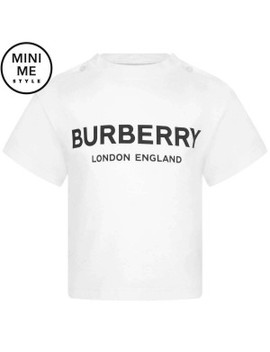 Baby Girls White Cotton Logo Top by Burberry