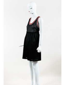 Black & Red Athletic Mesh Jersey Sleeveless Baby Doll Dress by Givenchy
