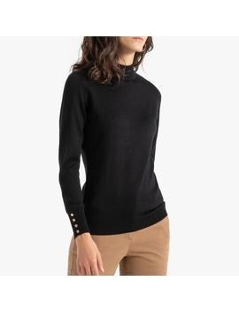 Merino Wool Mix Fine Knit Jumper With High Neck by Anne Weyburn