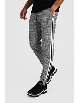 Man Signature Jacquard Cuffed Jogger With Tape by Boohoo