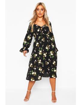 plus-floral-ruffle-detail-midi-dress by boohoo