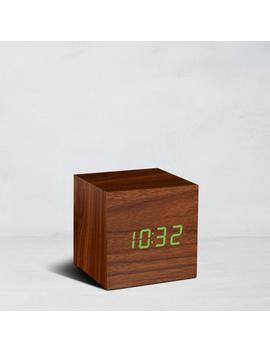 Cube Click Clock, Walnut by Gingko