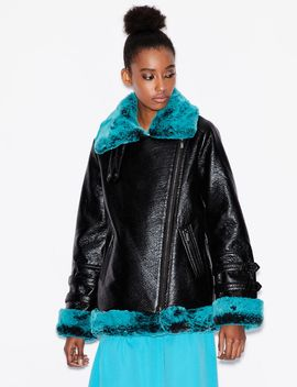 Faux Leather Biker Jacket With Faux Fur by Armani Exchange