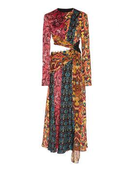 taxila-cutout-patchwork-effect-silk-midi-dress by prabal-gurung