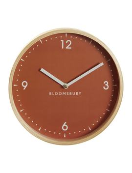Vitus Wall Clock In Orange & Wood by Premier