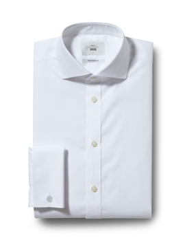 Moss 1851 Tailored Fit White Double Cuff Zero Iron Shirt by Moss Bros
