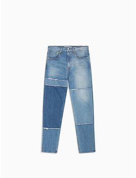 Athletic Taper Fit Patchwork Blues Jeans by Calvin Klein