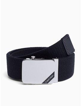 enamel-logo-canvas-plaque-belt by calvin-klein