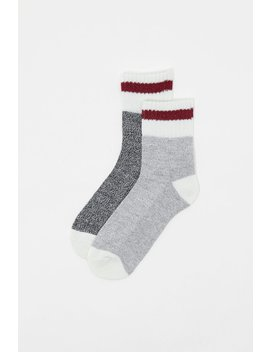 Contrast Stripe Quarter Boot Socks (2 Pairs) by Urban Planet