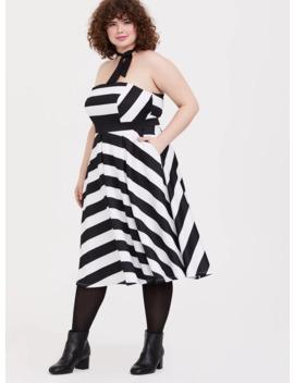 barbie-black-&-white-stripe-strapless-fit-&-flare-dress by torrid
