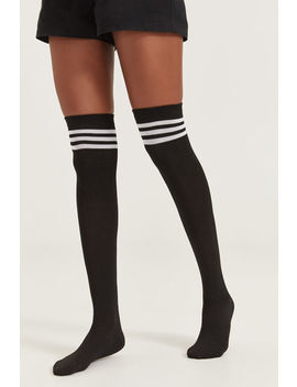 Striped Over The Knee Socks by Ardene