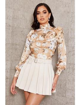 cream-suede-pleated-skater-mini-skirt by i-saw-it-first