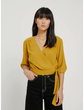 Wrap Blouse With Knot In Black by Frank & Oak